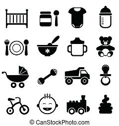 bebê, recem nascido, jogo, ícone