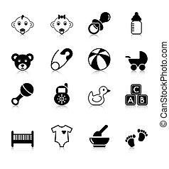 bebê, reflexão, ícones