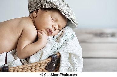 bebê, retrato, closeup, dormir