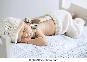 bebê, retrato, dormir