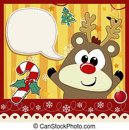 bebê, rudolph, cartão natal