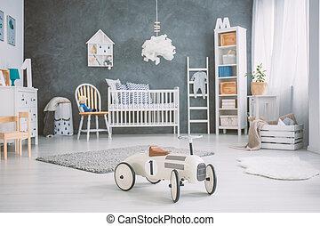bebê, sala, cot, espaçoso