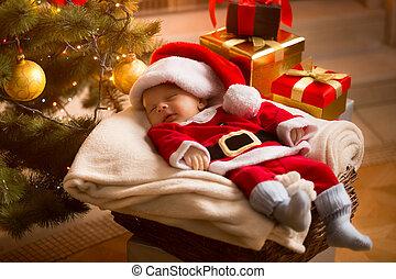 bebê, santa, dormir, sob, árvore natal, com, presentes