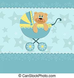 bebê, saudações, cartão