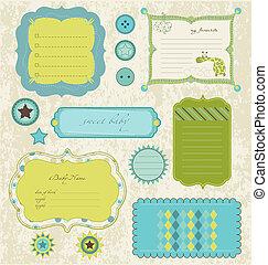 bebê, scrapbook, elementos, desenho