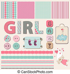 bebê, scrapbook, menina, jogo