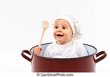bebê senta-se, dentro, um, pote