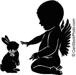 bebê, silhuetas, bunny easter, anjo