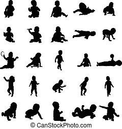 bebê, silhuetas, jogo