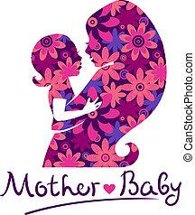 bebê, silhuetas, mãe