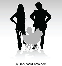 bebê, silhuetas, vetorial, família