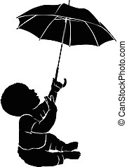 bebê, silueta, guarda-chuva