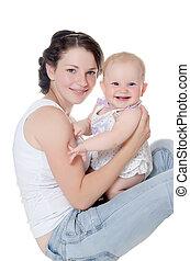 bebê, sobre, feliz, branca, mãe