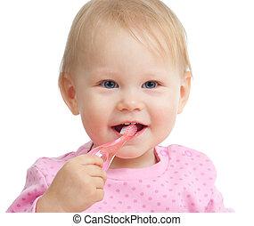 bebê, sorrindo, dentes limpando