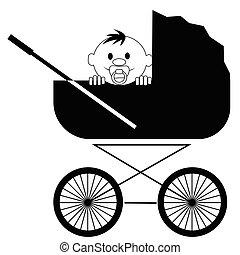 bebê, sorrindo, pacifier, carrinho criança, sentando