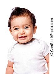 bebê, sorrindo, toddler, feliz