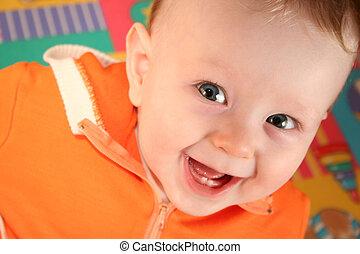 bebê, sorrizo, menino, dente