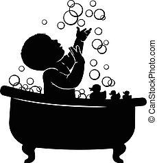 bebê, spen, banheiro, silueta, bolhas