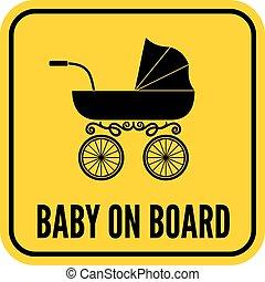 bebê, tábua, sinal