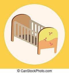 bebê, tema, elementos, cama