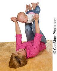 bebê, tocando, jovem, dela, mãe