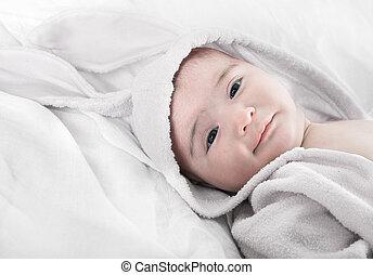 bebê, traje, coelhinho