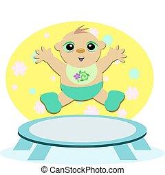 bebê, trampoline