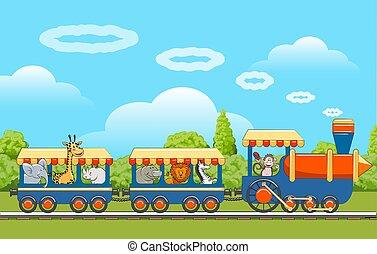 bebê, trem, animais