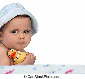 bebê, um, pato borracha