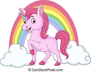 bebê, unicórnio, arco íris, nuvens, cute