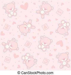 bebê, urso teddy, menina, seamless