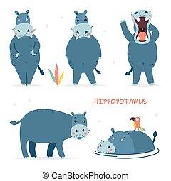 bebê, vetorial, caricatura, hippo., desenho, cute, isolado, adesivos, ilustrações, jogo, characters.
