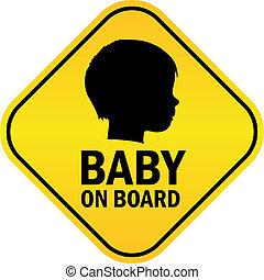 bebê, vetorial, emblema, tábua