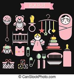 bebê, vetorial, produtos, bebês, ilustração