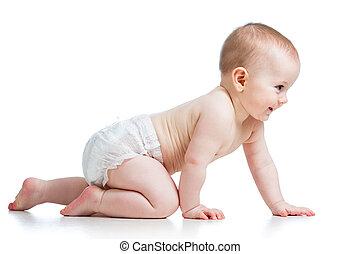 bebê, vista, lado, bonito, rastejar