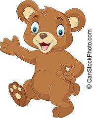bebê, waving, caricatura, urso, mão