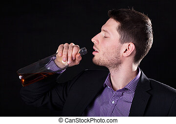 bebendo, Álcool, homem