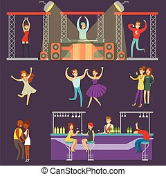 bebendo, barzinhos, pessoas, clube, dançar, jovem, ilustração, caricatura, vetorial, música, noturna, dj, sorrindo, tocando