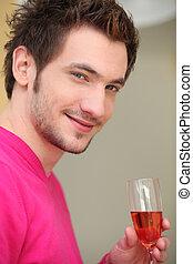 bebendo, homem, jovem, vinho