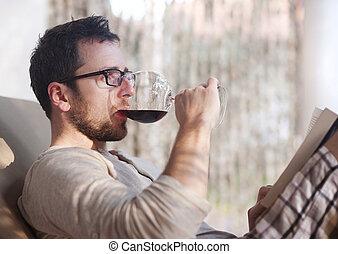 bebendo, homem, vinho