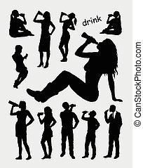 bebendo, macho, silueta, femininas