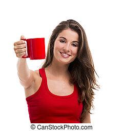 bebendo, mulher, café