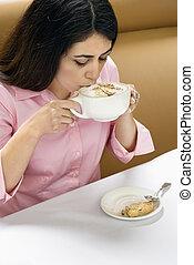 bebendo, mulher, coffee.