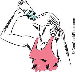 bebendo, mulher, desporto, garrafa, wa