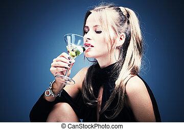 bebendo, mulher, martini