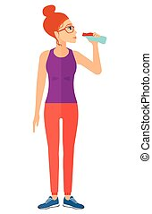 bebendo, mulher, water.
