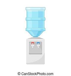 bebendo, ou, apartamento, refrigerador, vetorial, escritório, lar, ilustração, água