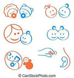 bebes, logotipo, elementos