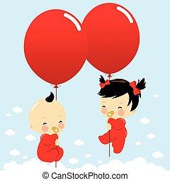bebes, sky., vuelo, ilustración, vector, tenencia, globos