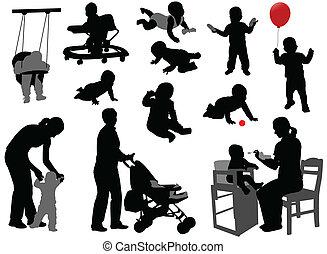bebes, y, niños, siluetas